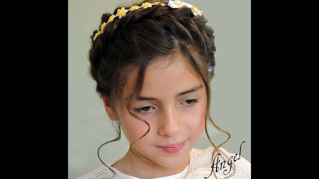 Peinados infantiles con flores naturales