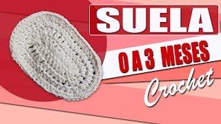 suela para zapatos tejidos a crochet para bebe de 0 a 3 meses