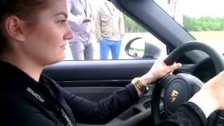 girl in porsche 911 turbo s reaction to launch control 0 200 km h