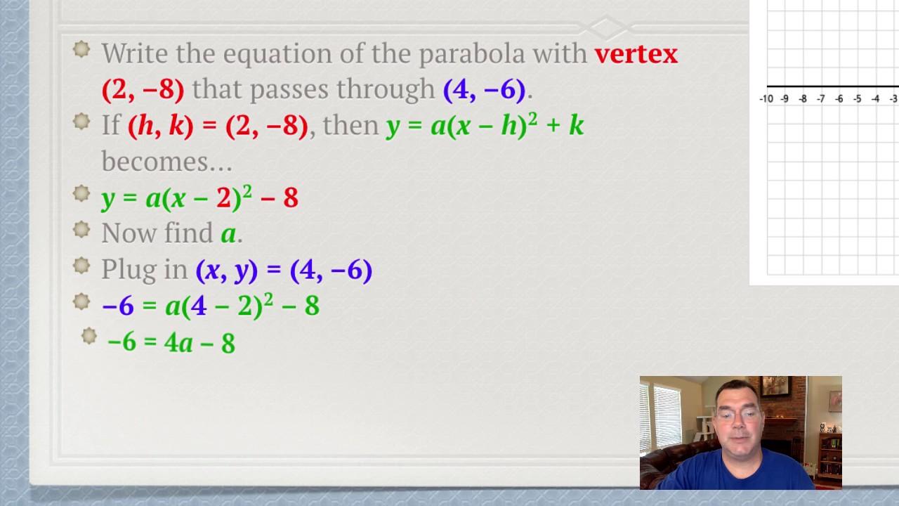 Writing quadratic equations in vertex form youtube writing quadratic equations in vertex form falaconquin