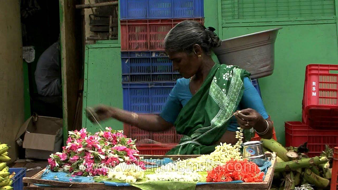 Ornamental Flower Garland Or Gajra Making In Chennai Youtube