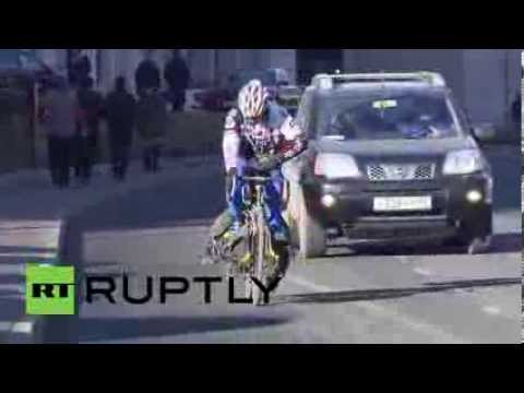 Russia: Sixty-eight-year-old cyclist pedals to Sochi Olympics