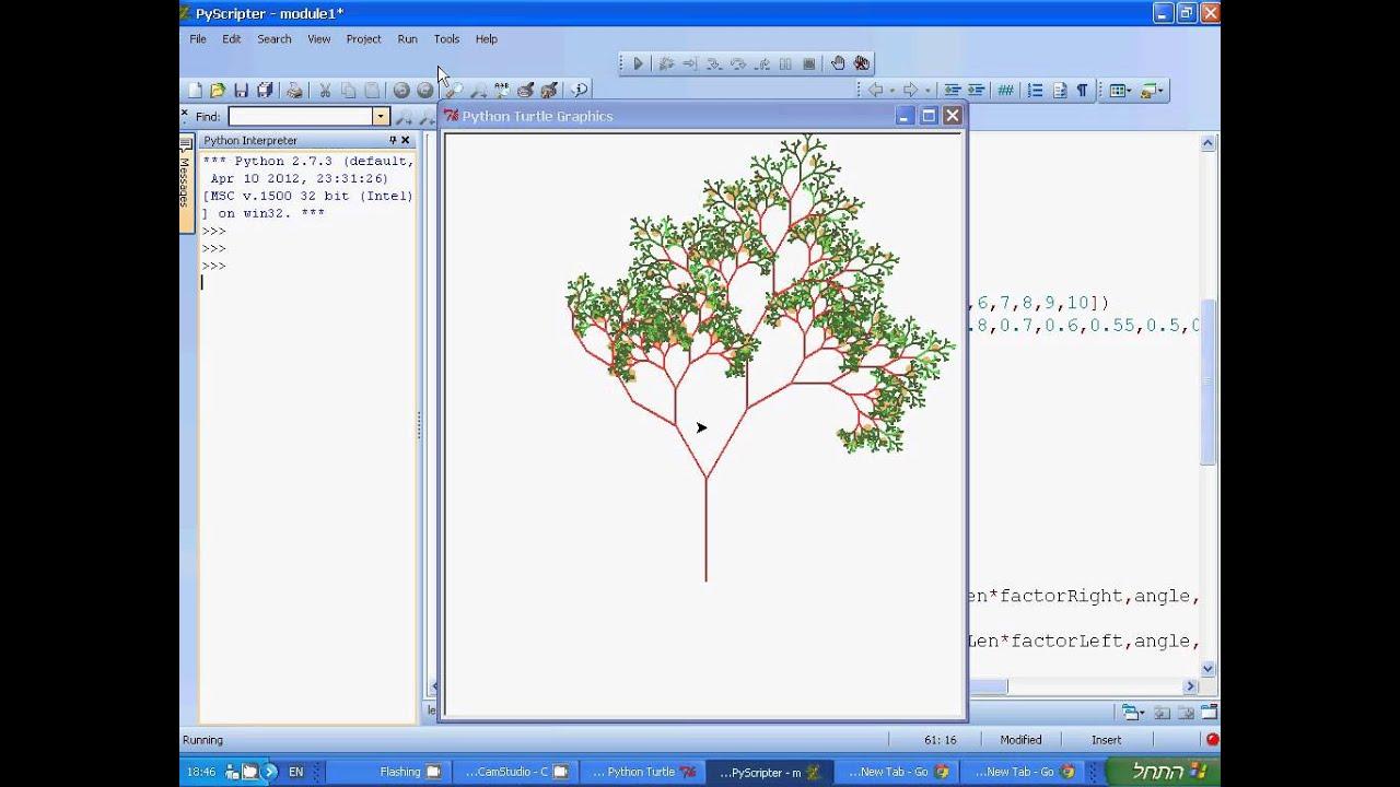 Fractal Tree Python Turtle Graphics Youtube