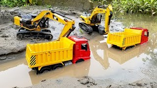 Excavators work under the river #Roller truck, Dump truck toys | Car Videos | ABC Bi Bi Kids
