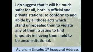 President Abraham Lincoln 1st Inaugural Address - Hear and Read the Full Text