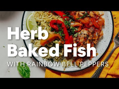 Herb Baked Fish With Rainbow Bell Peppers | Minimalist Baker Recipes