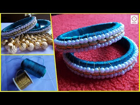 How to Make Silk Thread Designer Bangles with Gold Beads and Pearl Beads at Home   Design #1