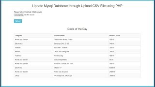 Update Mysql Database through Upload CSV File using PHP