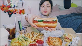 Five Guys Mukbang! (Double Cheese burger + hot dog + grilled cheese)