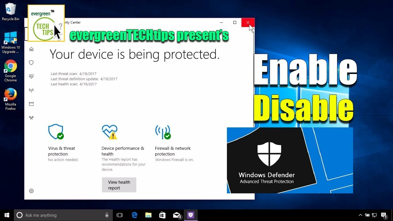 How to Disable or Enable Windows Defender in Windows 10 2019 Tutorial