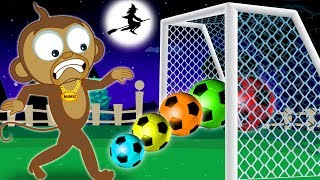 SPOOKY SOCCER GAME | Learn Colors with Soccer Balls & Funny Monkey | Learning Cartoons for Kids