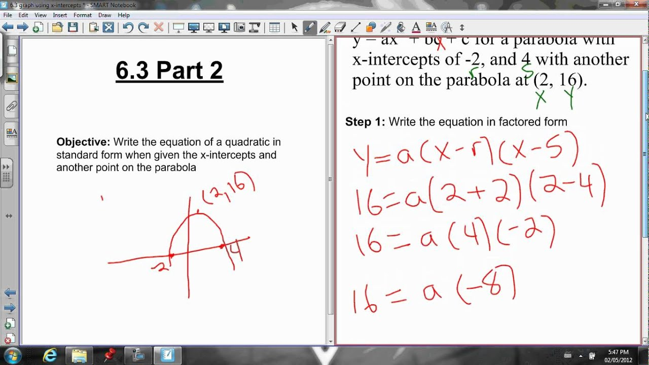 63 writing the equation in standard form when given the graph youtube 63 writing the equation in standard form when given the graph falaconquin
