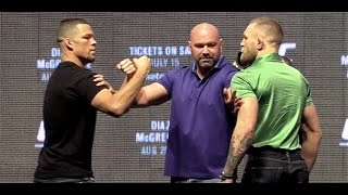 Conor McGregor and Nate Diaz Face Off at the UFC 202 Press Conference