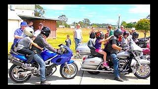 Катание на Мотоциклах. Ночные волки и Детские игры в Русском лагере в Австралии