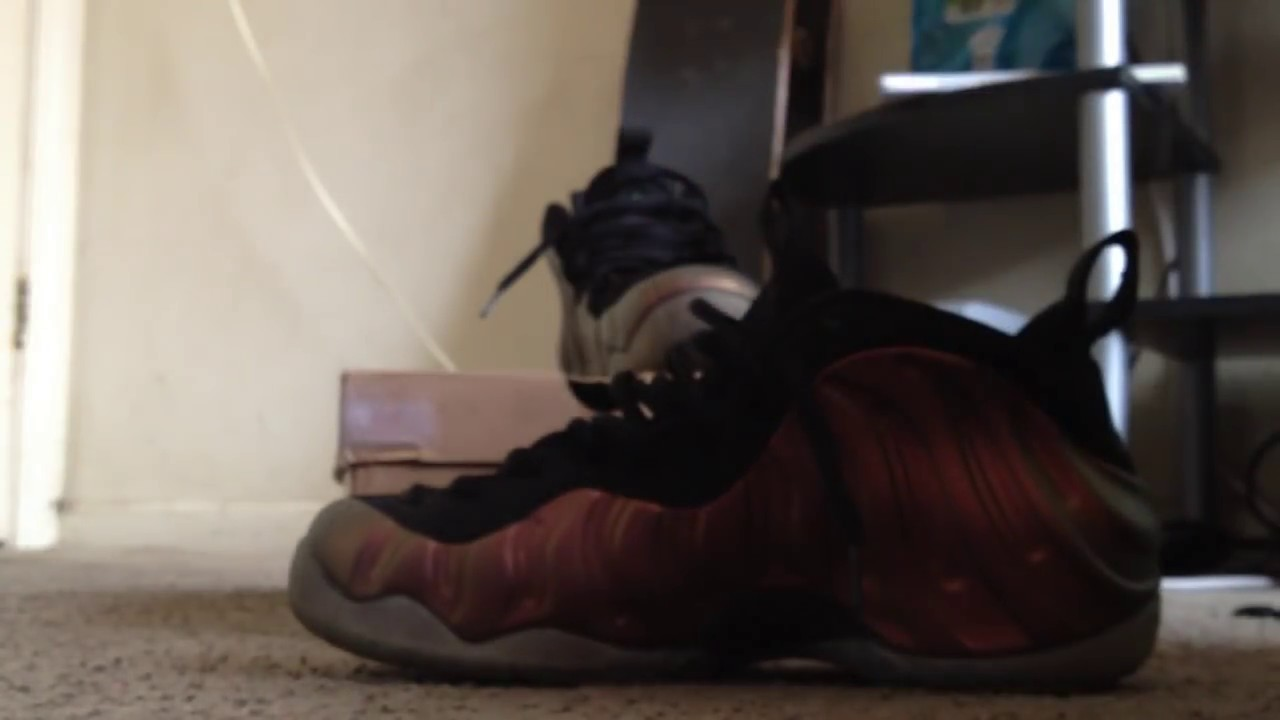 c666fdaebcb43 nike foamposite gym green on feet - YouTube