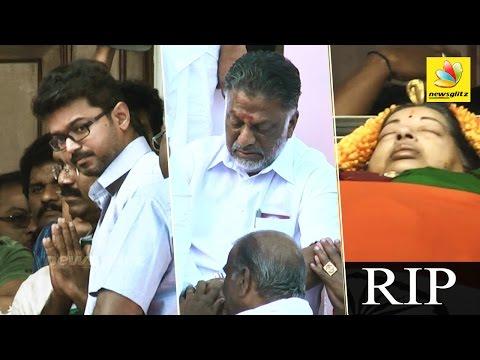 Actor Vijay, O Paneerselvam pay last respects at Jayalalitha's Funeral | Tamil Nadu CM Death