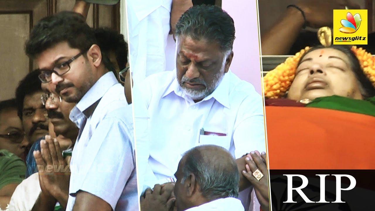 Actor Vijay, O Paneerselvam Pay Last Respects At