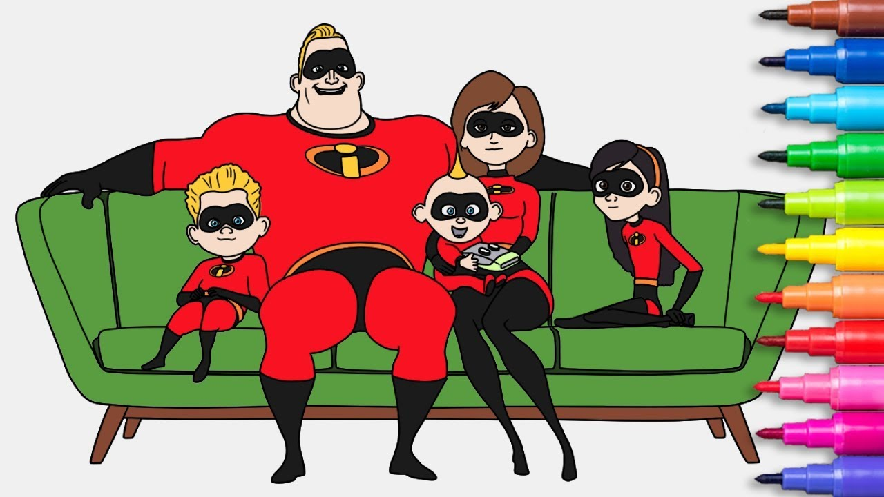 INCREDIBLES 2 Coloring Pages Rainbow TV