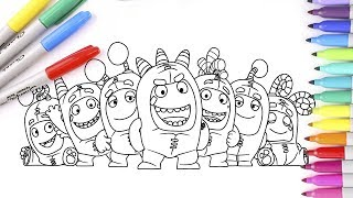 Coloring Oddbods Fuse, Slick, Zee, Newt, Bubbles, Pogo, Jeff.  Coloring Pages For Kids