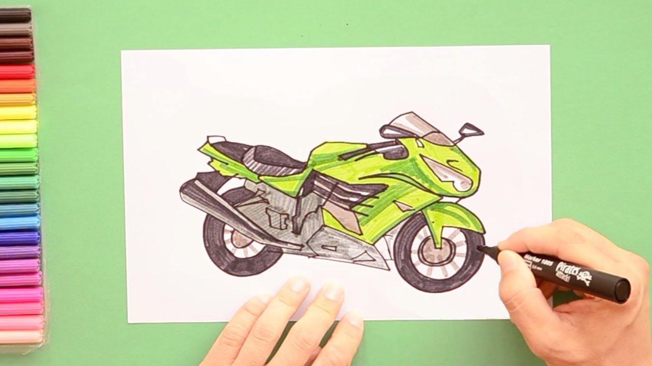 How To Draw Kawasaki Ninja Motorbike Youtube
