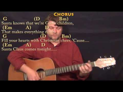 Here Comes Santa Claus (Elvis) Guitar Lesson Chord Chart in D with On-Screen Lyrics