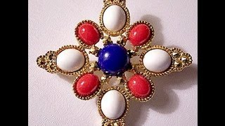 Red White Blue Maltese Pin Brooch Gold Tone Vintage Mosaic Cross