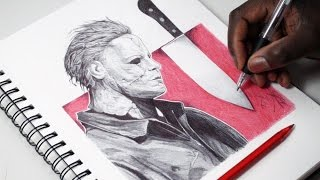 Drawing Michael Myers - INKTOBER DAY 30 - Halloween - DeMoose Art