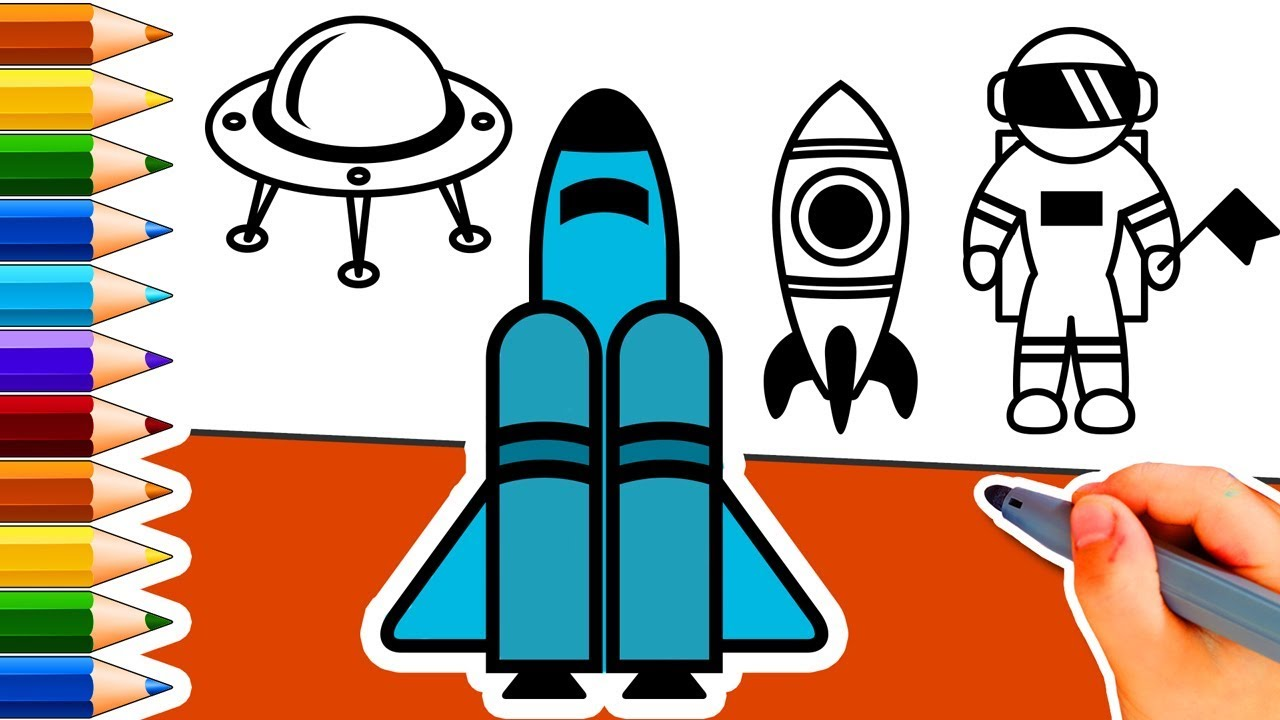 How To Draw Space Shuttle Rocket Space Exploration