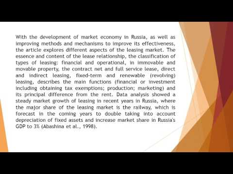 Modern Conditions of Development of Leasing Market in Russia on the Example of Rail Transport AJEM 5