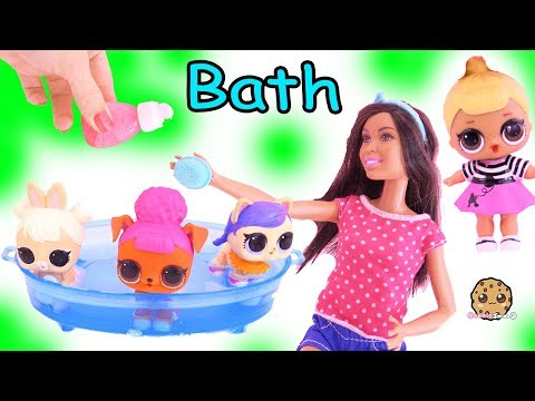 lol-surprise-pets-bath-in-water-pool-with-barbie,-dog-&-cat-toy-video