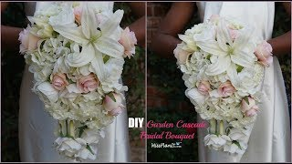 DIY Garden Cascading Bridal Wedding Bouquet   DIY Wedding Bouquet   DIY Tutorial