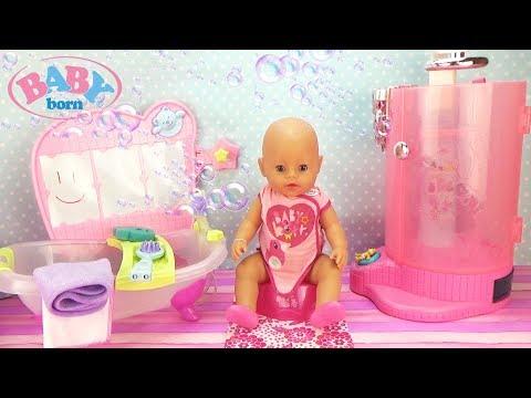 Утро куклы Беби Бон Кушаем, принимаем душ, идем на прогулку с куклой ЛОЛ Сюрприз Baby Born Doll