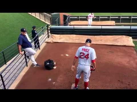 Boston Red Sox pitcher David Price warms up in bullpen vs Baltimore Orioles 8/17/16