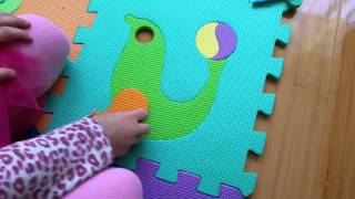 Puzzle for kids. Animals, fruits and vegetables. Children like this toys and learn how puzzle make