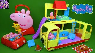 Peppa Pig Transforming Camper van Holiday RV Red Car and Figures Collection Toys