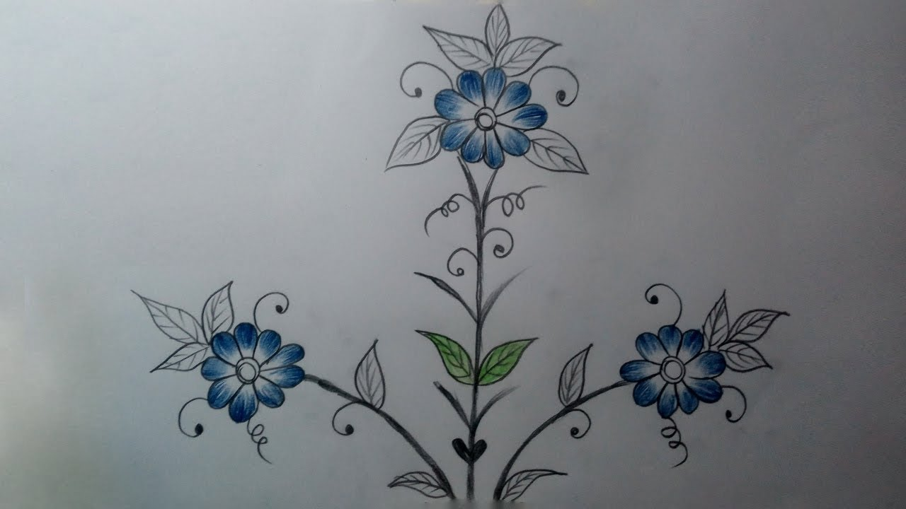 How To Draw A Beautiful Flower Designs Simple Flower Designs Color Pencil Drawing Youtube