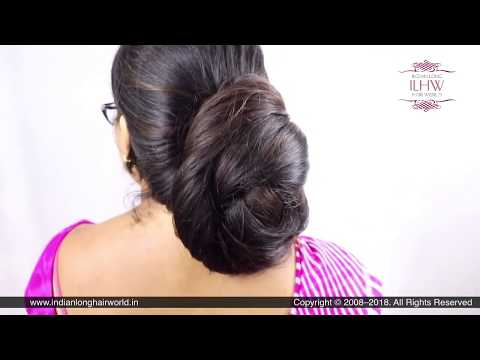 ILHW Manju's Sensual Extra Huge Traditional Knot Bun Making Over Her Neck &  Bun Flaunting