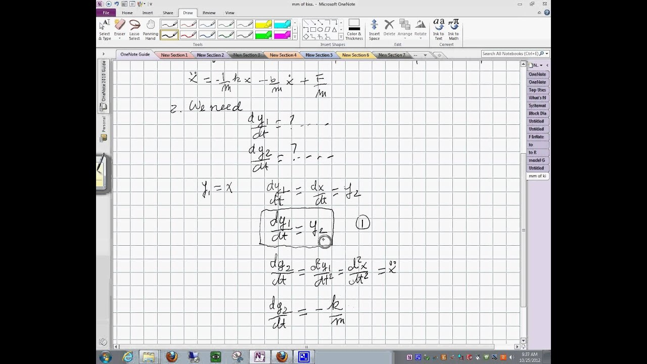 block diagram method second order differential equations to state space 25102012 945 58 part 1 [ 1280 x 720 Pixel ]