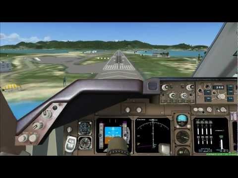 FSX PMDG 747 Landing @ St. Martin / Sint Maarten TNCM (Cockpit view)
