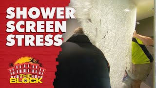 Jesse and Mel's jaw-dropping shower screen struggle | The Block 2019