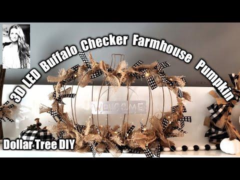 Dollar Tree DIY: 3D LED Buffalo Black & White Plaid Farmhouse Pumpkin🎃AMAZING Turnout ❤More Ideas