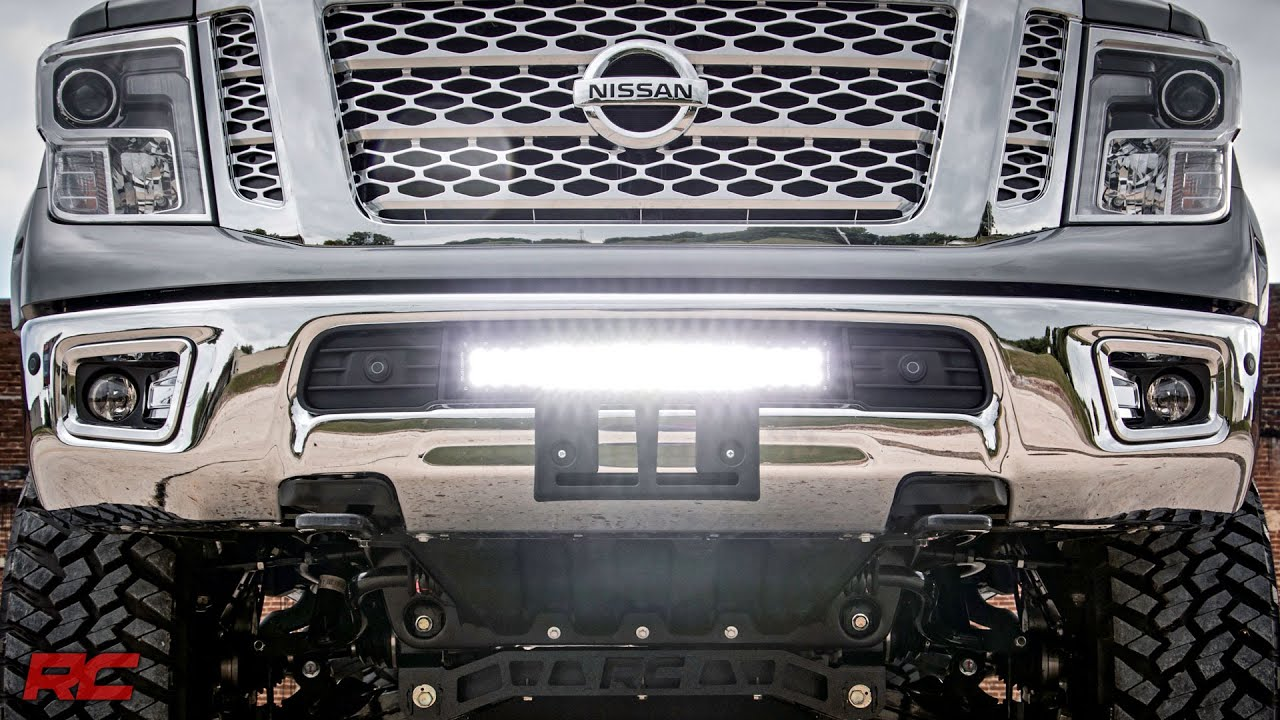 2016 2017 nissan titan xd 20 inch led light bar bumper mount by 2016 2017 nissan titan xd 20 inch led light bar bumper mount by rough country youtube mozeypictures Image collections
