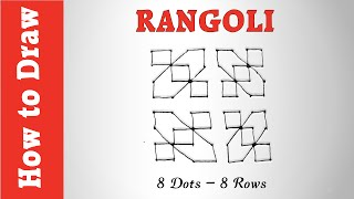 How to Draw an Easy Rangoli Pattern with 8 Dots - 8 Rows
