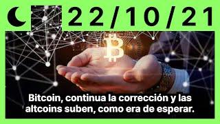 Bitcoin, continua la corrección y las altcoins suben, como era de esperar.