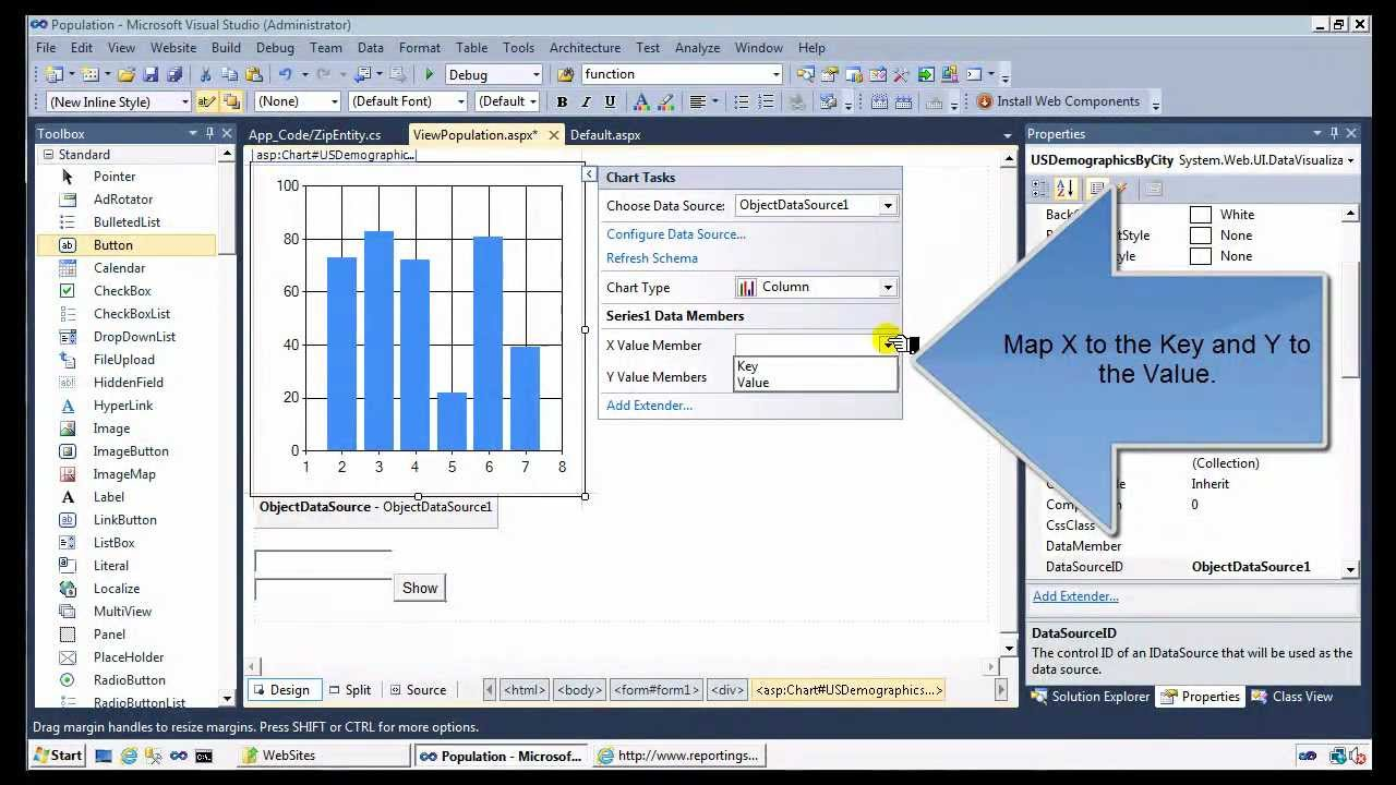 Call a Web Service and Populate a Chart using an ObjectDataSource in  ASP NET Tutorial