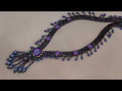 Waterfall Necklace Beading Tutorial with Polymer Clay Beads and more !, jewelry tutorial