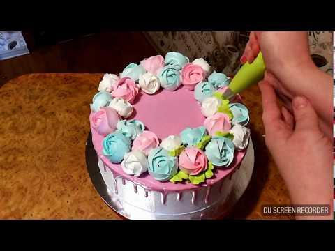 Как украсить торт подтеками и розами из крема.