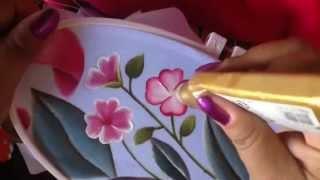 Pintura en tela cenefa de toalla florecitas # 6 con cony