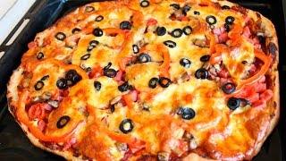 Пицца с грибами, ветчиной и сыром моцарелла!