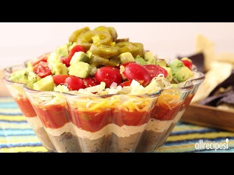 How to Make Manda's Seven Layer Taco Dip | Party Recipes | Allrecipes.com - YouTube